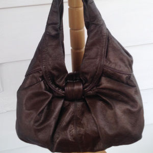 Kooba Plum Metallic Leather Hobo Handbag Bag Purse